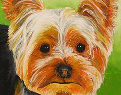 Yorkie Sticker Dog art print painting Original crafts scrap photo book Yorkshire Terrier