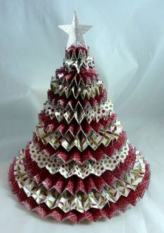 Paper Christmas tree from pinwheels
