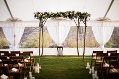 Tented Ceremony and natural chuppah | Carats & Cake