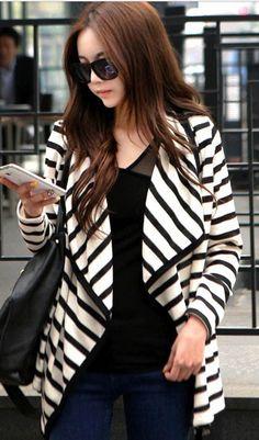 Fashion trend striped irregular collar cotton jacket