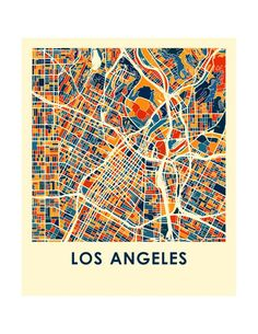 Los Angeles Map Print Full Color Map Poster by iLikeMaps on Etsy Los Angeles Landscape, Los Angeles Map, Map Design, Graphic Design, Abstract City, City Maps, Poster Prints, Country Names, Urban Design