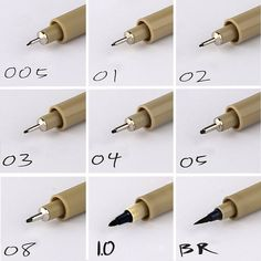 9PCS fineliner Sakura Pigma Micron Drawing Pen 005 01 02 03 04 05 08 Brush Waterproof Manga anime comic Pen NOT staedtler