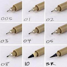 9PCS fineliner Sakura Pigma Micron Drawing Pen 005 01 02 03 04 05 08 Brush Waterproof Manga anime comic Pen NOT staedtler