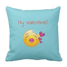 #Valentine emoji throw pillow - #emoji #emojis #smiley #smilies