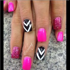 BOLD pink, black and white nails - Instagram photo by  dndang