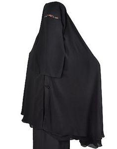 Extra lang Niqab-Khimar Kombi, Gesichtsschleier Hijab Islamische Kleidung HI0385