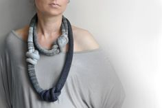 blue and gray knitted okapi necklace big statement by okapiknits