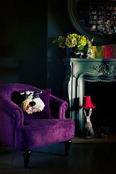 Abigail Ahern for Debenhams. Love the purple chair and grey fireplace Decor, Boho Interior, Home And Living, Purple Decor, Furniture, Dark Interiors, Interior Design, Home Decor, Chair Design
