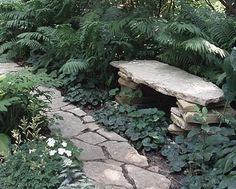 Bench and path way. So peaceful
