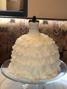 Wedding Dress Cake Swiss meringue buttercream and raspberry filled lemon cake, fondant and gumpaste decorations Wedding Dress Cake, Wedding Cakes, Wedding Dresses, Barbie Cake, Barbie Party, Cupcake Cookies, Cupcakes, Barbie Wedding, Raspberry Filling