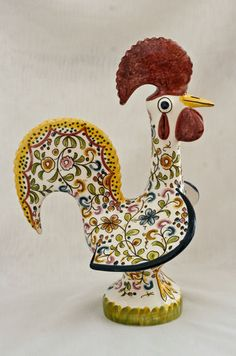 Rooster Figurine from Portugal | Hand Painted Ceramic Pottery | eBay