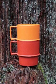Tupperware 1970's Stackable Mugs  Set of 2  Orange by AnticoNovum