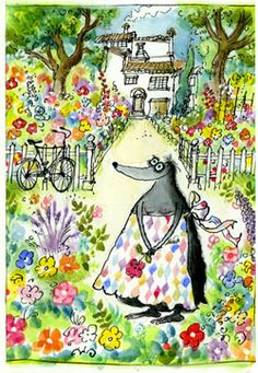 Ronald Searle made these drawings for his wife when she was diagnosed with breast cancer.  Before every chemotherapy session, he gave her a painting.  This was in 1969.  They were never meant for publication, but after she died last summer they have been made into a book.  So sweet. :)