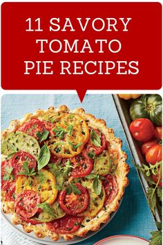 Must-try tomato pie recipes! Herb Tomato Tart is fabulous, used pizza crust partially cooked then brushed with herb and garlic evoo then cheddar,feta heirloom tomatoes and herbs that included oregano, basil, parsley and tarragon.