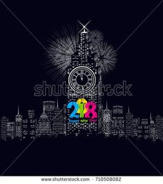 Happy new year 2018 written with Sparkle firework and led