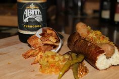 Abita Beer Pairing Dinner at Stadium- House Made Hot Dog with Cocoa Nibs, Fried Pretzel Bun, Chowchow, Malt Pickled Peppers, Black Beer Mustard Seed, served with Parsnip Chips