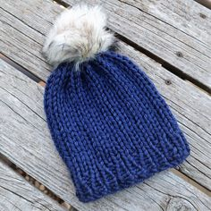 Reversible chunky yarn beanie. Super fast knit project. Uses Lion Brand Hometown USA yarn.