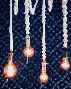 Beautiful hand macramed pendant lights with customizable hardware finishes. Lamp Cord, Lamp Socket, Cord Cover, Light Pull, Modern Bohemian, Glass Globe, Light Decorations, Boho Decor, Pendant Lighting