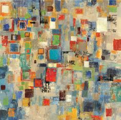 """Combining ideas of city and country, Tom Reeves' abstract """"Complexity"""" painting depicts an asymmetrical metropolis of rectangles. Condo Decorating, Wall Maps, Unique Wall Art, Living Room Art, Kitchen Art, Modern Prints, Vintage Walls, Figure Painting, New Art"""