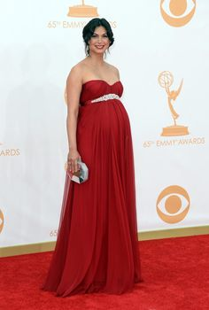 Pin for Later: Let's Flash Back to Who Wore What at Last Year's Emmy Awards  A pregnant Morena Baccarin accented her status with an empire-waist gown.