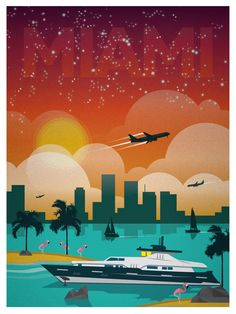 Vintage Miami Print - collage wall
