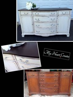 Buffet ~ Top stained with #General Finishes Java Gel Stain and sealed with #General Finishes High Performance Water Based Top Coat Flat.  Body painted with ASCP Pure White and Clear Wax.