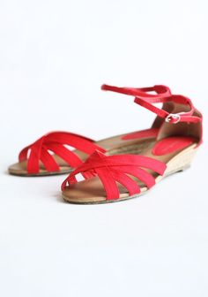 """Zoe Espadrille Sandals In Red 28.99 at shopruche.com. Vibrant red canvas and braided detail mingle to create the perfect espadrille sandal. Perfected with peep toes and an adjustable ankle strap.  All man made materials, Heel: 1.5"""""""