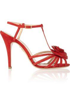 Charlotte Olympia|Rosa rose-appliquéd leather sandals|NET-A-PORTER.COM