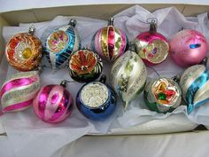 12 VINTAGE Mercury Glass Christmas Ornments Indents  Mica