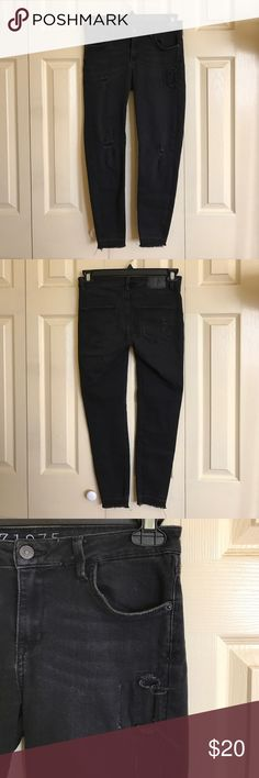 Ripped Black Skinny Jeans Ripped Zara skinny jeans with frayed hem. Ankle length. Zara Jeans Skinny