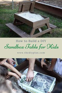 Sand is one of the very best nature-made toys. Almost every child enjoys playing in the sand — digging, searching for buried treasures, building roads, and sandcastles. Playing in sand helps children develop fine motor skills, fuels imagination, and encourages problem-solving. So I decided to create plans on how to build a DIY Sandbox Table for kids to have fun. #diy #freeplans #projects #homedecor #interior #furniture #woodproject #game #doityourself #homeimprovement #kids #idea