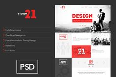 21 Studio-Creative One Page Template by spartakvee on Creative Market