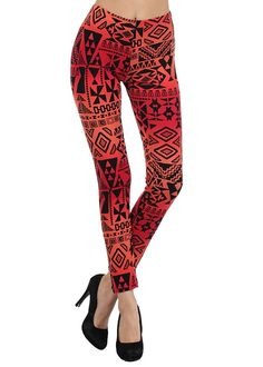 Trendy Tribal Inspired Leggings-Graphic Print Leggings- Aztec Graphic Leggings