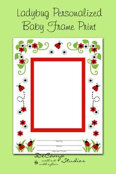 Ladybug Baby Girl First Year Personalized Photo Frame Print Or Premade Scrapbook Page makes a unique keepsake and perfect gift. You have a choice of 3 different sizes #decampstudios