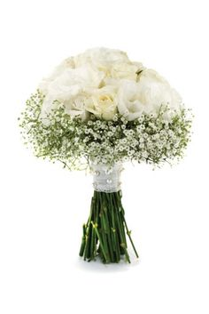 White roses and baby breath- I like this for bridesmaids bouquets, with red dresses. Will make them pop!