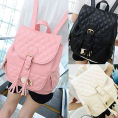 Girls Faux Leather Flap Buckle Shoulder School Bags Quilted Tassel Backpack I Source by Bags Stylish Backpacks, Cute Backpacks, Girl Backpacks, Fashion Handbags, Fashion Bags, Fashion Backpack, Mochila Kpop, Mini Mochila, College Bags