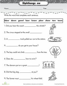 Worksheets: Practice Reading Vowel Diphthongs: ow