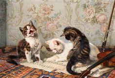 Julius Adam (1852-1913) - A musical trio, oil on canvas, 30 x 45 cm