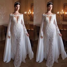 Find More Wedding Dresses Information about  2016 New Arrival Wedding Dress with Cape Shawl Stunning Off Shoulder Mermaid Wedding Dresses Sexy Lace Bridal Gowns Sweep Train,High Quality dresses for a wedding guest,China wedding dress arabic designer Suppliers, Cheap wedding dresses black brides from Ayaya Dress Shop on Aliexpress.com