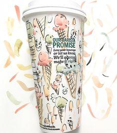 Starbucks cup decorated by Riley Sheehey with watercolors Starbucks Cup Art, Cup Decorating, Cafe Shop, Brand Packaging, Coffee Break, Pattern Paper, Cute Drawings, Coffee Cups, Wordpress