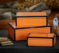 Ken Fulk Orange Lacquer Boxes | Pottery Barn