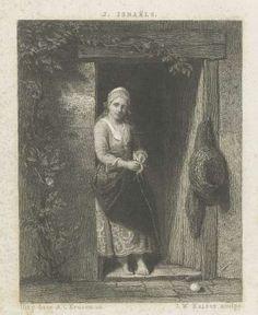 Jonge vrouw met breiwerk, Johann Wilhelm Kaiser (I), after Jozef Israëls, 1860…