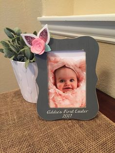 Burlap easter frame personalize baby1st eastername or give your babys first easter first easter gift babys first easter picture easter picture frame for baby 4 x 6 photo negle Images