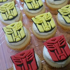 Transformers cupcakes fondant toppers by Ferris Sweets Co. Of Boise Idaho