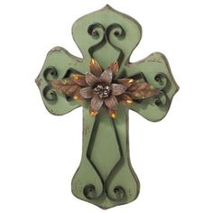 Southwest-Inspired Green Painted Wall Cross with Metal Flower and Scrollwork 20