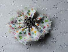 MULTICOLOUR HEADBAND, Matches 3pc Set, Shabby Chic Flower. Flower with Silver Button, Flower Pattern Headband, Toddler Headband, Hair Clip,