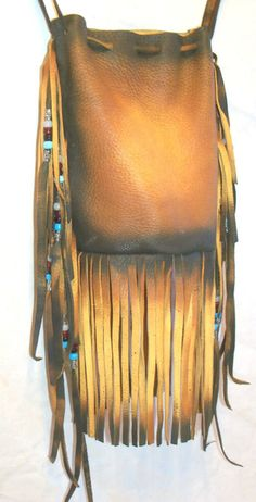 Leather Indian Style Medicine Bag Beaded Fringed by dleather, $129.94