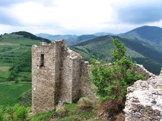 Remains of the tower in medieval Serbian castle Koznik, 14th century, on Kopaonik mountain, central Serbia