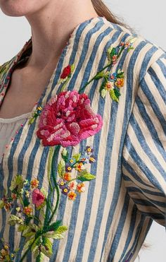 Péro Linen/Cotton Reversible Floral Embroidery Jacket in Multicolor | Santa Fe Dry Goods & Workshop