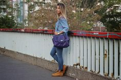 Denim on Denim: #forever21 shirt, #hollister jeans, #coach purse and #timberland boots